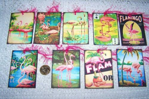 Vintage Inspired~Retro~Pink~Flamingo~Linen Cardstock~Gift~Hang~Tags
