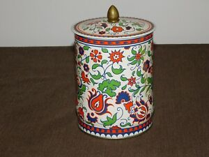"VINTAGE KITCHEN 7"" REGAL CROWN ENGLAND CONFECTIONS FLOWERS CANDY TIN"