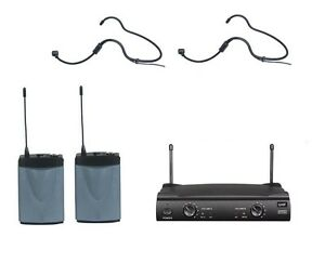 Professional-UHF-Dual-Channels-Wireless-Headset-Microphone-w-2-Headset-Mics