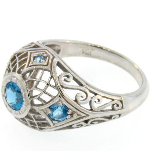 Details about  /10K WHITE GOLD VINTAGE DESIGN GENUINE SWISS BLUE TOPAZ RING SIZE 7 #A40