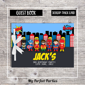 Keep Sake 2 Guest Book PERSONALISED Boy Superhero Birthday Party