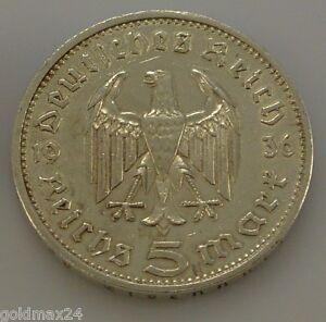 Drittes-Reich-5-Reichsmark-Silbermuenze-1935-E-Hindenburg-ohne-HK