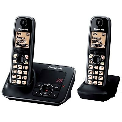 PANASONIC KX-TG6622EB Cordless Phone with Answering Machine Twin H&sets Black