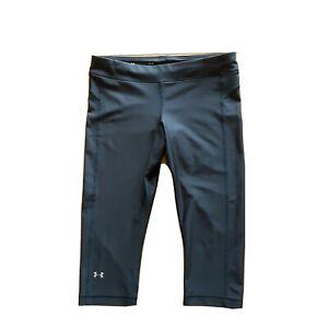 Women's Under Armour Black Yoga Pants Crop Leggings Compression  Size L GUC