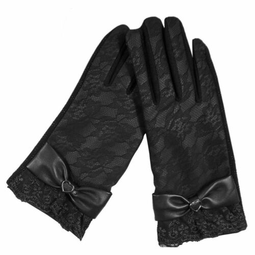 Fashion New Women Leather Lace Flower Touch Screen Gloves Winter Warm Mittens