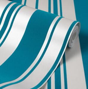 Exclusive velvet flock blue teal cream stripe wallpaper 44006 ebay - Cream flock wallpaper ...