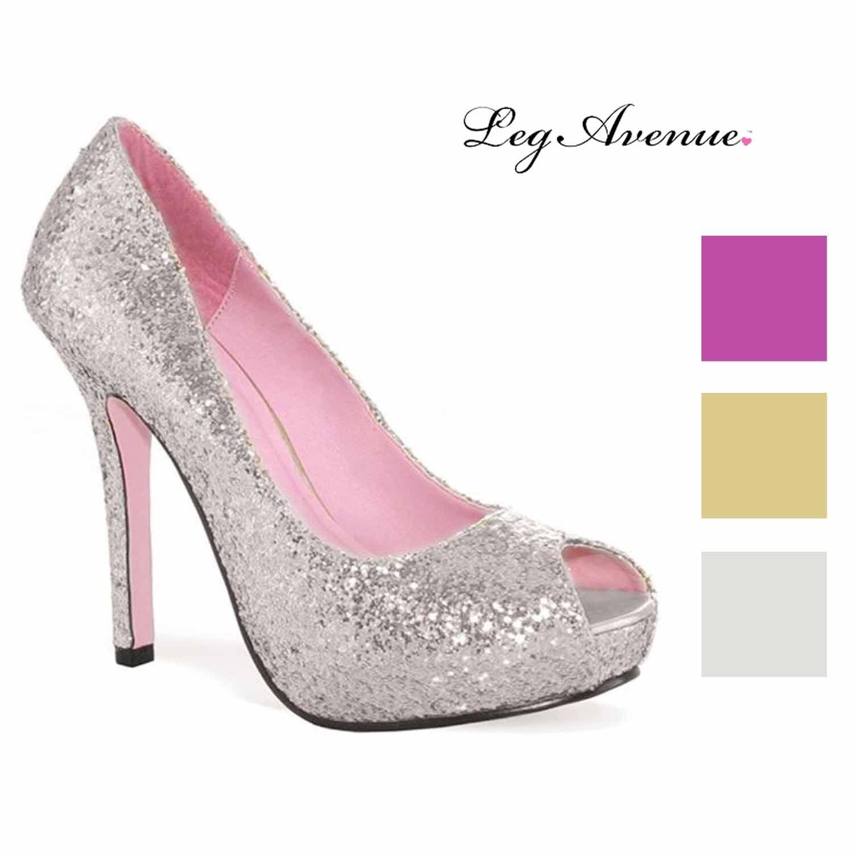 Leg Avenue Women's Ella Open Toe Glitter Pump with 1