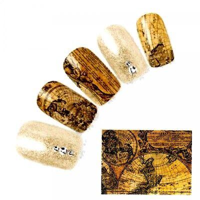 NB916 2x NAGELSTICKER Fingernagel Nagel für Akzente alte Weltkarte Globus watert