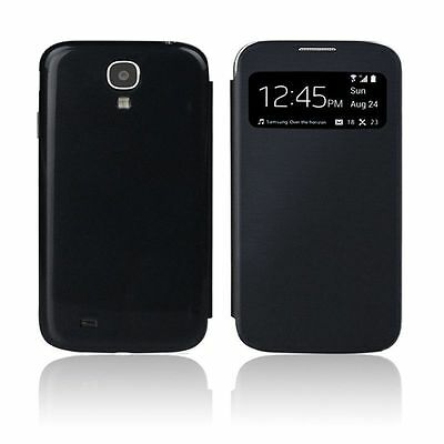 Black Smart S-View Flip Cover Wallet Case for Samsung Galaxy S4 i9500 i9505