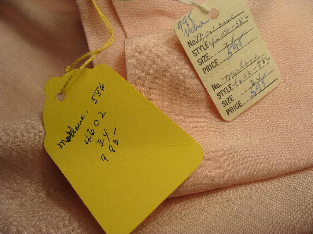 50s VINTAGE MORLOVE PINK LINEN BEADED BLOUSE, NWT… - image 6