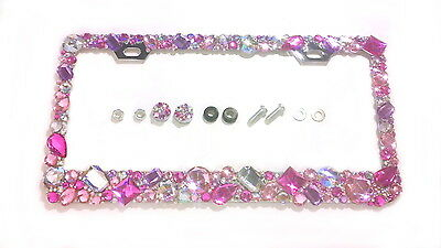 1 LICENSE PLATE FRAME w SCREW CAPS CRYSTAL DIAMOND RHINESTONE BLING MIX AB PINK