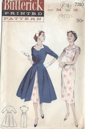 "RR7 1950s Vintage Sewing Pattern B34/"" REDINGOTE /& DRESS"