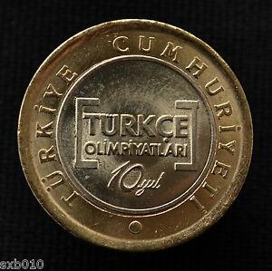 Turkey-1-Lira-2012-km1281-10-Years-of-Turkish-Olympics-UNC-Bimetallic-coin