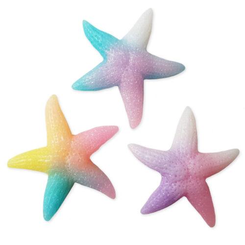 3pcs Large Gradient Glitter Starfish Flatback Cabochons Embellishment Craft