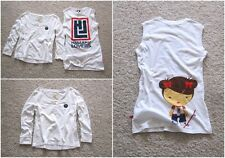 Lot of 2 HOLLISTER / HARAJUKU LOVERS WOMEN'S WHITE TOP TEE SHIRTS 2PC Sz-S