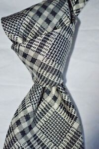 250-NWT-TOM-FORD-Gray-Black-Bold-check-men-039-s-3-9-034-luxury-woven-Silk-tie-ITALY
