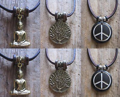 Diszipliniert Lederkette Surferkette Leder Braun Neu Buddha Halskette Peace Lebensbaum Kette