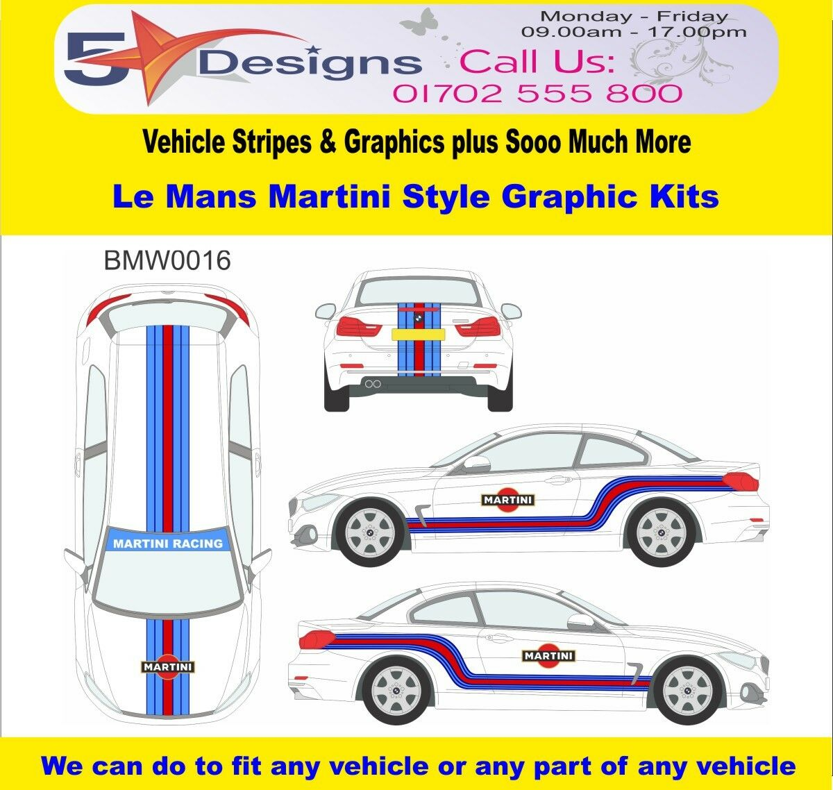 BMW 4 Series Congreenible 2013-14 Le Mans Martini Race Rally Logo Graphic Kit 16