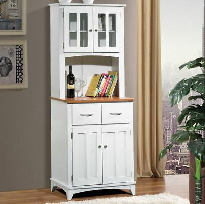Kitchen Hutch Buffet Bar Table Small China Cabinet Storage Pantry Drawers White