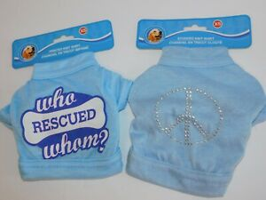 Puppy-Dog-T-Shirts-TWO-Very-Small-Who-Rescued-Whom-amp-Silver-Studs-Peace-Size-XS