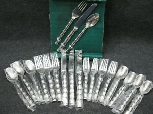 Mid-Century-Modern-Retroneu-Palm-Flatware-Set-of-20-Stainless-Steel-NOS