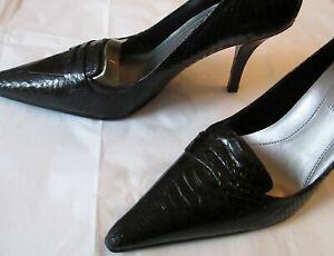 "Enzo Angiolini Black Leather Snake Snakeskin 3.9"" High Heels Pointed Toe NEW 9 M"