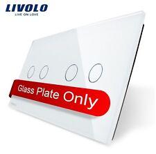 Original Livolo 2 Fach Glasabdeckung für Touch Doppel Lichtschalter Weiß 2G + 2G