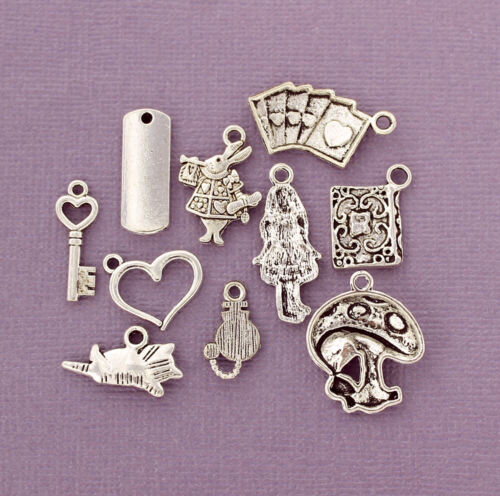 Alice in Wonderland Charm Collection Antique Silver Tone 10 Charms COL273