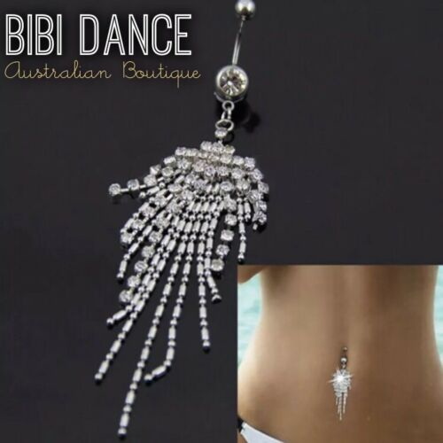 Belly Earring Silver Crystal Tassel Belly Bar Belly Dance Jewellery