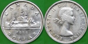 1955-Canada-Silver-Dollar-Graded-as-Almost-Uncirculated