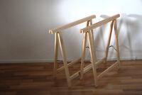 1 Paar Holz Klapp-böcke Aus Buchenholz - Vielseitig Verwendbar