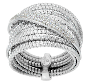 ITALIAN-SILVER-STERLING-SILVER-PAVE-CRYSTAL-TUBOGAS-RING-SIZE-6-QVC-87-00
