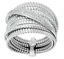 ITALIAN-SILVER-STERLING-SILVER-PAVE-CRYSTAL-TUBOGAS-RING-SIZE-6-QVC-87-00 thumbnail 1