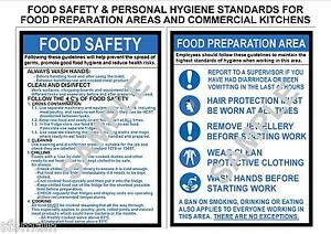 HEALTH SAFETY 2 A4 LAMINATED COMMERCIAL KITCHEN SIGNS FOOD ...
