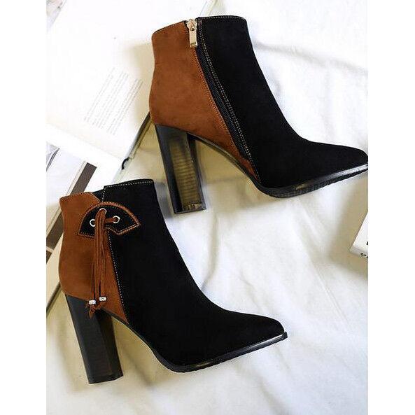 botas bajo tobillo 8 cm marrón negro elegantes elegantes elegantes como piel 9539  con 60% de descuento