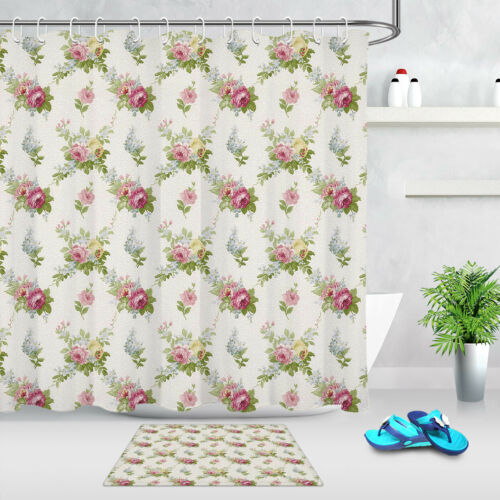 Polyester Waterproof Flowers Floral Shower Curtain Bathroom Mat Accessory Set