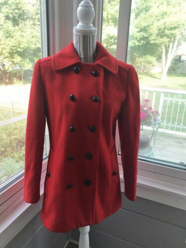 Vintage MACKINTOSH 100% Wool Bright Red Navy Peaco