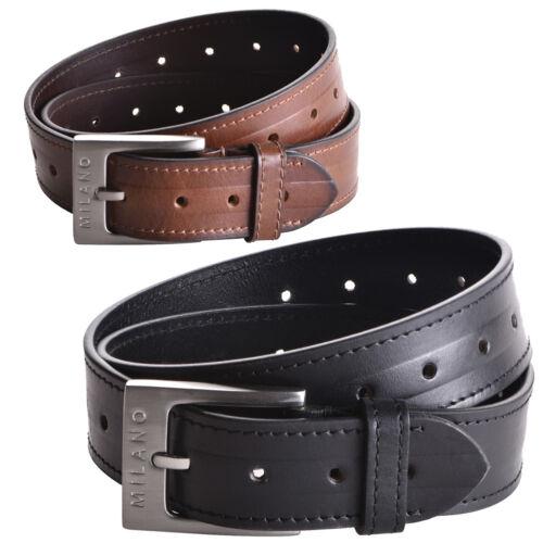 """Da Uomo 35mm 1.5/"""" REAL Genuine Cintura in Pelle Morbida Cuciture esterne 32,34,36,38,40,42"""