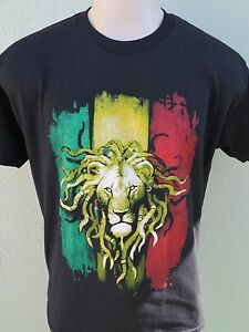 Rasta-Color-Lion-Head-Reggae-Jamican-Mens-100-Cotton-Black-T-Shirt-Tee