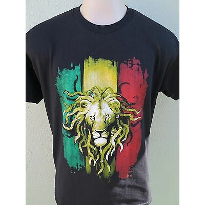 Rasta Color Lion Head Reggae Jamican Mens 100% Cotton Black T-Shirt Tee