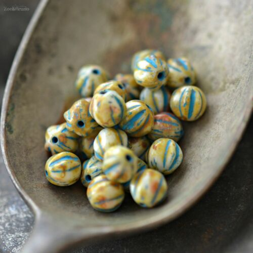 Czech Glass Picasso Opaque Ivory Baby Melon Round Beads 25 Coastal Dreaming