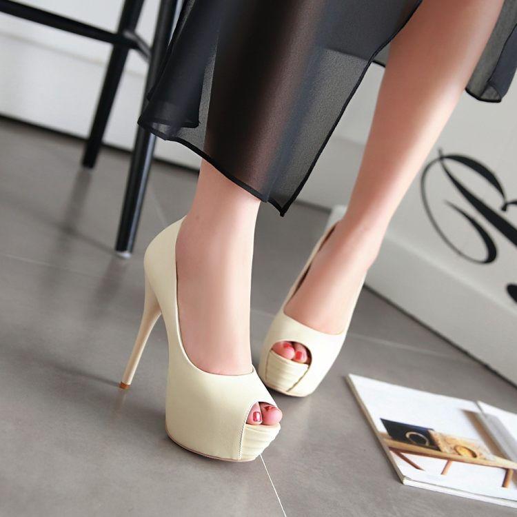 Décollte shoes court shoes elegant woman heel pin plateau 13.5 beige 9299