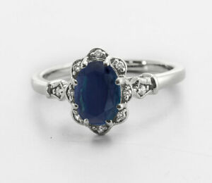 Natural Blue Sapphire Solitaire Ring-Sapphire Birthstone Ring Silver-Blue Sapphire Vintage Engagement Ring-925 Sterling Silver Jewelry Ring