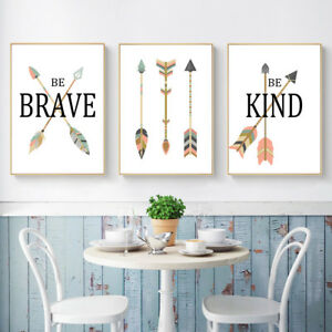 Details About Tribe Arrow Nursery Quote Canvas Nordic Poster Cartoon Art Print Baby Room Decor