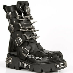 Mens New Skull Rock s1 Stivali in M Skull Flame 727 pelle nera qAx5wAr