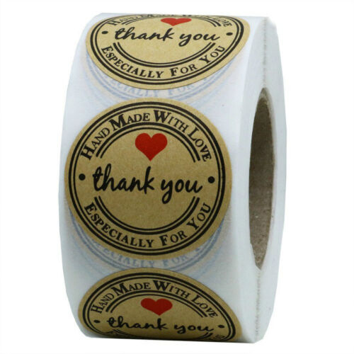 500pcs Round Thank You Craft Packaging Seals Kraft Sealing Sticker Label Paper