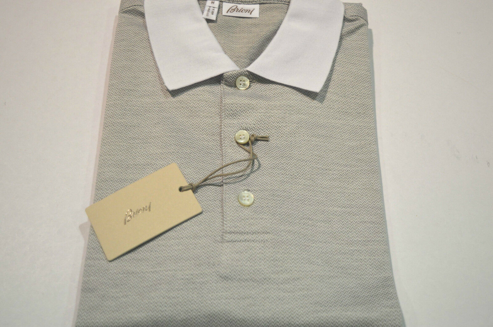 NEW  BRIONI Polo  Short Sleeve Cotton SIlk Größe M Us Eu 50 (SpZig)