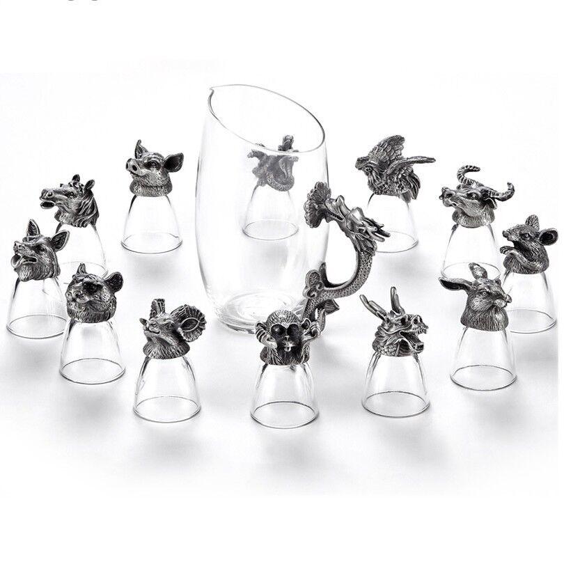 13 pièces set haut de gamme Zodiac verre vin Creative Animal VERRE CRISTAL spiritueux