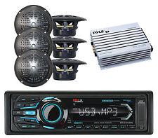 "6 Black 4"" Speakers, 400W Amplifier & BOSS Marine Bluetooth USB AUX AM FM Radio"