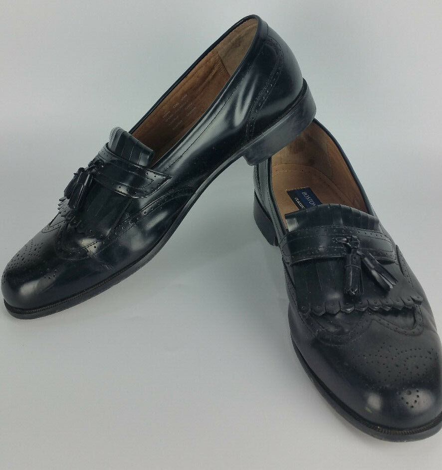 Bostonian CLASSICS 13M Tassel Wingtip Loafer Black Leather shoes Evanston 20370
